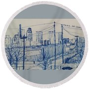Downtown Louisville Round Beach Towel by Stacy C Bottoms