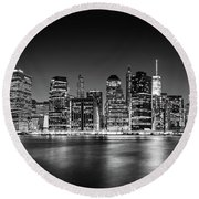 Downtown Manhattan Bw Round Beach Towel by Az Jackson