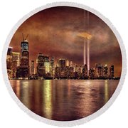 Downtown Manhattan September Eleventh Round Beach Towel