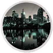 Downtown Minneapolis At Night II Round Beach Towel
