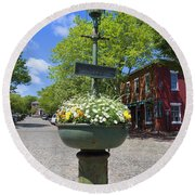 Downtown Nantucket - Garden View 46y Round Beach Towel