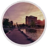 Round Beach Towel featuring the photograph Downtown Neenah Sunset by Joel Witmeyer