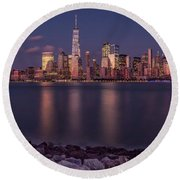 Downtown Nyc At Sunset Round Beach Towel