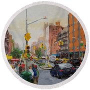 Downtown On Seventh No. 1  Round Beach Towel