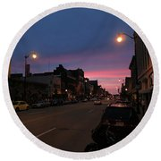 Round Beach Towel featuring the photograph Downtown Racine At Dusk by Mark Czerniec