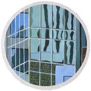 Downtown Reflections Round Beach Towel by Alika Kumar