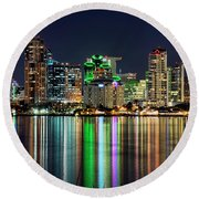 Downtown San Diego Round Beach Towel by Eddie Yerkish