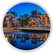 Downtown San Diego Waterfront Park Round Beach Towel by Sam Antonio Photography