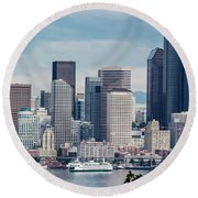 Downtown Seattle And Ferries Round Beach Towel