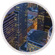 Downtown Seattle Buildings Details Round Beach Towel by Mike Reid