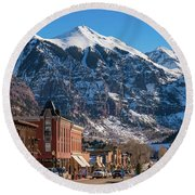 Downtown Telluride Round Beach Towel