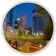 Dowtown Houston By Night Round Beach Towel