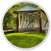 Dr. Knisely Covered Bridge Lush Landscape Round Beach Towel