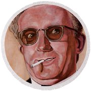 Round Beach Towel featuring the painting Dr Strangelove 2 by Tom Roderick