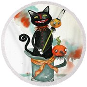 Dracula Vintage Cat Round Beach Towel