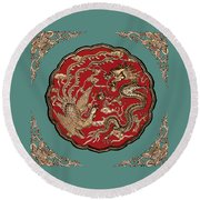 Dragon And Phoenix Round Beach Towel