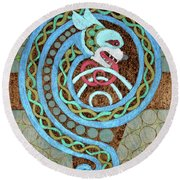 Dragon And The Circles Round Beach Towel