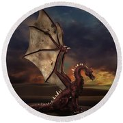 Dragon At Sunset Round Beach Towel