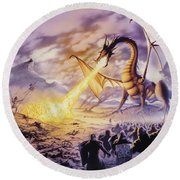 Dragon Battle Round Beach Towel by The Dragon Chronicles - Steve Re