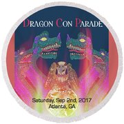 Round Beach Towel featuring the digital art Dragon Con Parade by Megan Dirsa-DuBois