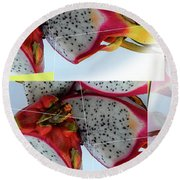 Dragon Fruit Collage Round Beach Towel