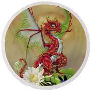 Dragon Fruit Dragon Round Beach Towel by Stanley Morrison