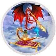 Dragon Genie Round Beach Towel