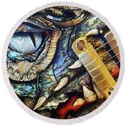 Dragon Guitar Prs Round Beach Towel by Martin Konopacki