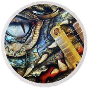 Dragon Guitar Prs Round Beach Towel