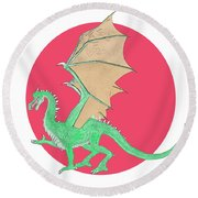 Dragon Illustration 1 Round Beach Towel