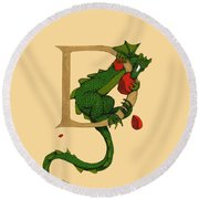 Round Beach Towel featuring the digital art Dragon Letter D 2016 by Donna Huntriss