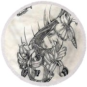 Round Beach Towel featuring the drawing Dragon by Michelle Dallocchio