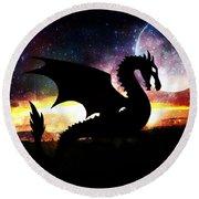 Dragon Silhouette Round Beach Towel