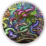 Dragon Vines Round Beach Towel by Kevin Middleton