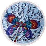 Dragonfly And Pussywillows Round Beach Towel