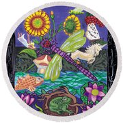 Dragonfly And Unicorn Round Beach Towel