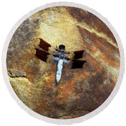 Dragonfly At Mount Rainier Round Beach Towel