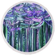 Round Beach Towel featuring the mixed media Dragonfly Bloomies 1 - Lavender Teal by Carol Cavalaris