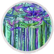 Round Beach Towel featuring the mixed media Dragonfly Bloomies 1 - Purple by Carol Cavalaris