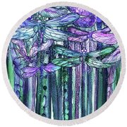 Round Beach Towel featuring the mixed media Dragonfly Bloomies 2 - Lavender Teal by Carol Cavalaris