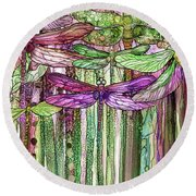 Round Beach Towel featuring the mixed media Dragonfly Bloomies 2 - Pink by Carol Cavalaris