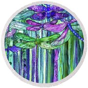 Round Beach Towel featuring the mixed media Dragonfly Bloomies 2 - Purple by Carol Cavalaris