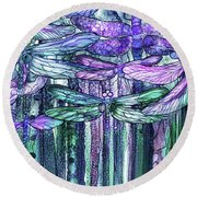Round Beach Towel featuring the mixed media Dragonfly Bloomies 3 - Lavender Teal by Carol Cavalaris