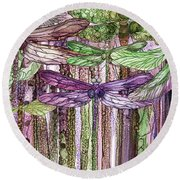 Round Beach Towel featuring the mixed media Dragonfly Bloomies 3 - Pink by Carol Cavalaris