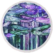 Round Beach Towel featuring the mixed media Dragonfly Bloomies 4 - Lavender Teal by Carol Cavalaris