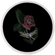 Dragonfly Dash With The Rose 3 Round Beach Towel