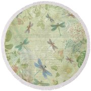 Dragonfly Dream Round Beach Towel by Peggy Collins