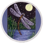Round Beach Towel featuring the painting Dragonfly Dreaming by Sandra Estes