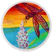 Dragonfly Ecstatic Round Beach Towel