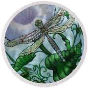 Round Beach Towel featuring the painting Dragonfly In Sun by Jeanette Jarmon